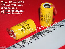 BATTERIA formato 1/2 A 2/3 AF 1.2 V 700mAh term saldare