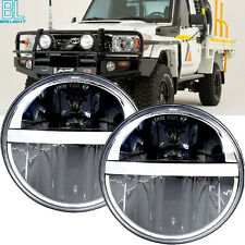 2X 7 inch AMBER LED Headlights WHITE Halo Land cruiser 40 45 55 60 70 73 series