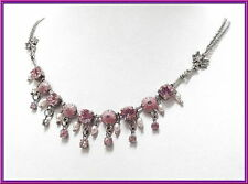 NEW VINTAGE PILGRIM SILVER PLATED NECKLACE PINK SWAROVSKI CRYSTALS PEARLS ANGELS