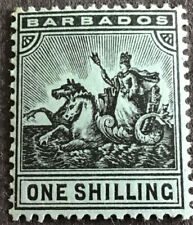 Barbados Edward VII 1909 1/- Black on Green SG169 Mounted Mint C/V £19.00 2018