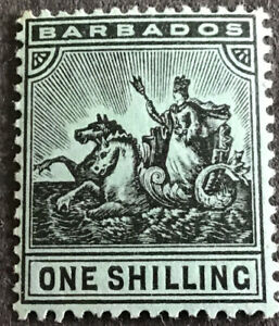 Barbados Edward VII 1909 1/- Black on Green SG169 Mounted Mint C/V £19.00 2018
