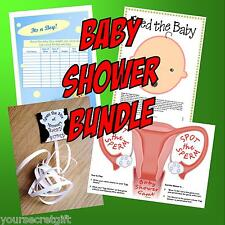 BABY SHOWER BUNDLE - 4 Games-Guess date, baby bump, feed the baby, spot sperm