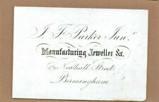 L.Parker, Jeweller of Birmingham - Beautiful 1870 Business Card