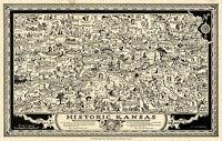 Early Historic Kansas Map Wall Art Poster Print Decor Vintage Historic Genealogy