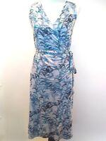 Tommy Bahama Womens 100% Linen Blue Palm Tree Wrap Dress Size Medium