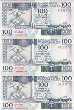 SOMALIE : 3 x 100 SHILLINGS 1988 NEUFS, N° SE SUIVANT - P.35c