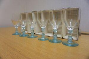 Vintage Set of x 6  Blue Stem / Base Sherry Liqueur Port Glasses circa 1950s