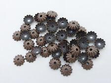 50 X latón estriados grano de flor Tapas De Cobre Rojo endbeads 6mm, resultados