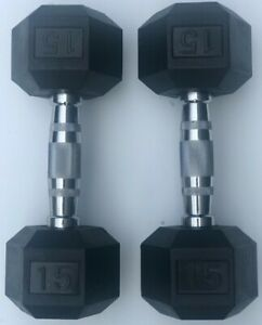 BRAND NEW 15LB PAIR OF RUBBER COATED HEX DUMBBELLS WEIGHTS FOR COMMERCIAL GYM