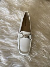 Pierre Dumas Loafers Slip On Shoes White Pebbled Leather Women's Size 7 New
