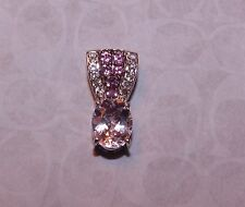 3.65 TCW  GENUINE OVAL CUT KUNZITE, PINK TOURMAILNE & TOPAZ  PENDANT SLIDE