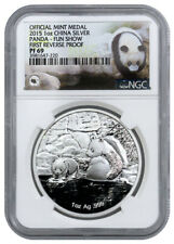 New Listing2015 China Panda 1 Oz Silver Proof Mint Medal Ngc Pf 69 Fun Show Coin Fair Expo