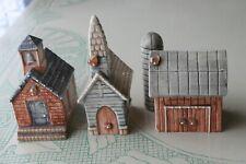 3 Ceramic Buildings Church School Barn signed M Kennedy Mk