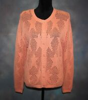 Women's Christopher & Banks Peach Knit Stars Button Sweater Cardigan Size M