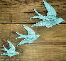 3 FLYING SWALLOWS Duck egg BLUE RETRO VTG WALL PLAQUES HANGING DECORATION GIFT