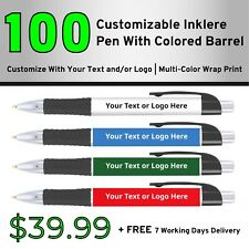 100 Custom Inklere Pen With Color Barrel | Personalized Pens | Promotional Item