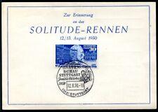 BUND 1949 116I ABART STEPHAN UPU ERINNERUNGSKARTE SOLITUDE RENNEN (G0611