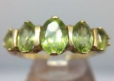 Antique Victorian 9ct Yellow Gold 5 Stone Peridot Ring