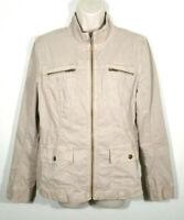 Caslon Women Sz Medium Thin Military Utility Jacket Tan Zipper Closure Pockets