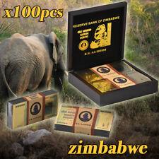 WR 100PCS Z$100 Trillion Zimbabwe Colored Gold Banknotes Set Novelty& Gifts Box