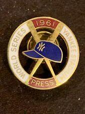Original 1961 New York Yankees World Series Press Pin Balfour in Original Box