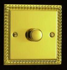 VARILIGHT Classic V-pro Georgian Brass 1 Gang LED Trailing Edge Dimmer Switch 1