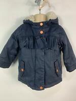 GIRLS NEXT NAVY BLUE PADDED WINTER HOOD RAIN COAT JACKET KIDS AGE 12/18 MONTHS