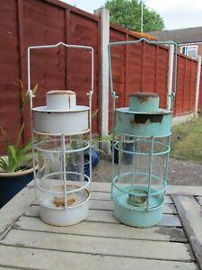2 x Vintage Original Garden Lanterns Maybe Planter etc 37cms For Restoration