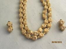 Necklace Bamboo Clasp & Clip Earrings Vtg 12Mm Textured Dimpled Gp Dble Strand