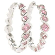 Pinctore Rhodium Over Silver 0.7ctw Pink Tourmaline Twisted Hoop Earrings 0.9'L