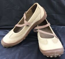 LANDS END Z Strap Tan Leather Mary Jane Comfort Walking Trekking Shoes 8.5B