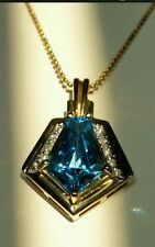 $1,755 DAZZLING 14K GOLD FANCY CUT SWISS BLUE TOPAZ DIAMOND NECKLACE