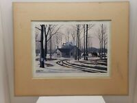 William Saunders Lithograph Maple Bush Signed Matted 13x16