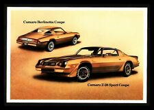 """1980 """"Chevy Camaro Z-28 & Berlinetta"""" Dealers Post Card (Combined Ship Discount)"""