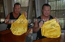 WWE JERRY THE KING LAWLER RING WORN HAND SIGNED SINGLET AND TRUNKS WITH PROOF
