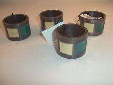 "Napkin Rings Pier 1 Bronze Green Vanilla Napkin Ring ""Set of 4"""