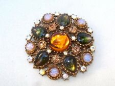 Vintage Amber Foil Art Glass Green Tear Drop AB Rhinestone Brooch Designer ??