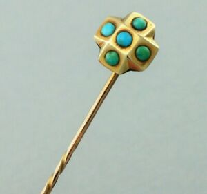 Antique Victorian Yellow Gold Turquoise Stick Pin