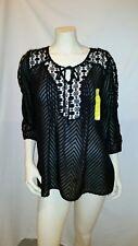 Bila pretty boho lace Blouse/Top/Shirt Black size Large NWT MSRP $52