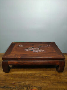 "15.3"" Antique old China huanghuali wood Shell inlay flower bird Table"