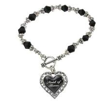 Maid of Honor Heart Silver Black Glass Bead Bracelet Jewelry Wedding Bridal Gift