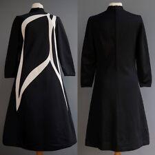 VTG 60s 70s Sebastian Made in Italy Mod Op Art Black Knit Dress Stunning sz M L