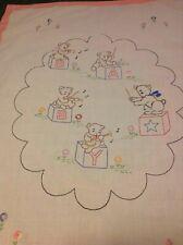 "Vtg Embroidered Crib Blanket Baby Nursery 44"" x 32"" Bears Blocks Band"