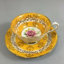 Royal Grafton Yellow Gold Filigree Rose Center Tea Cup Saucer Bone China England
