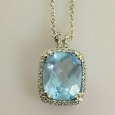 """Topaz and Diamond Necklace in 14k White Gold 3.71 Carats 18"""""""