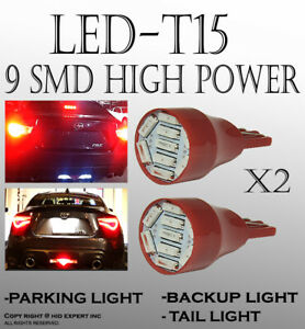 2x pair T15 Red LED Front Turn Signal Light Bulbs Direct Plugin Replacement P206