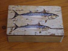 Mackerel Fish Wooden Box Treasure Chest- Picture / Shell / Nautical / Nice Gift