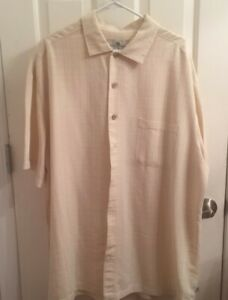 Men's Casual Button Down Shirt - 2XLT - Island Shores - Pale Yellow
