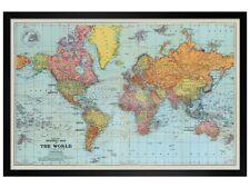 More details for black wooden framed stanfords general map of the world colour poster 61x91.5cm
