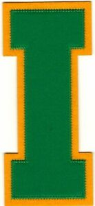 """6"""" inch Tall Green Yellow Block Letterman's Letter i (i) Felt Patch"""